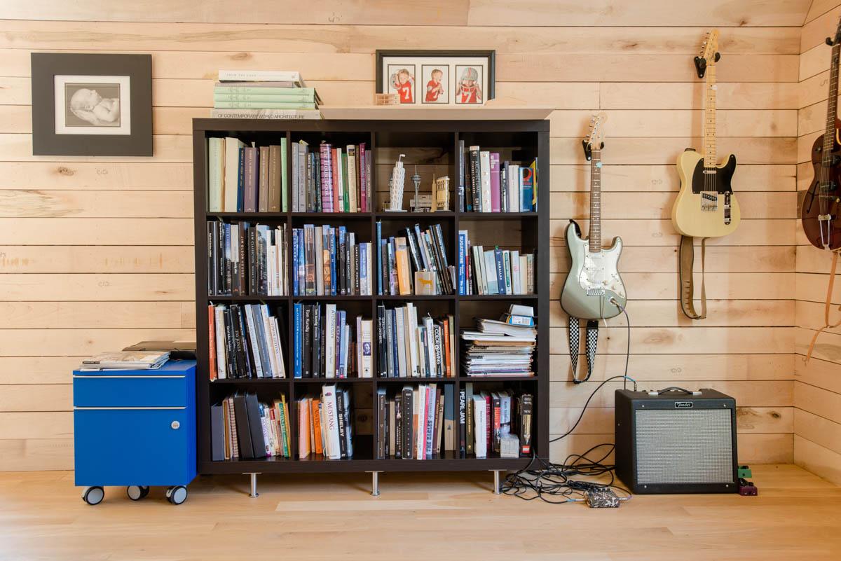 bookshelf in room
